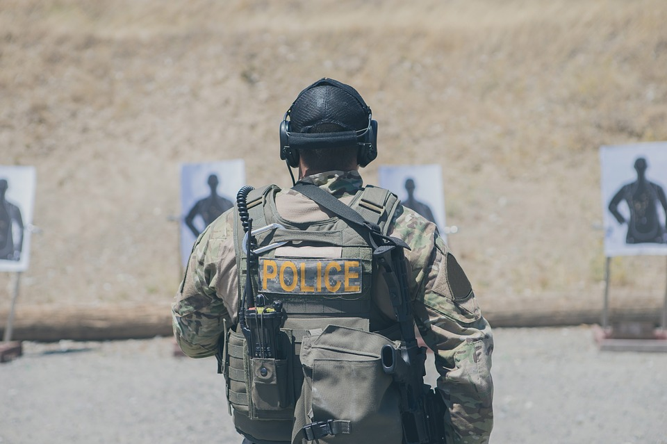Police officer at shooting range