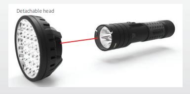 Flashlight with detachable head