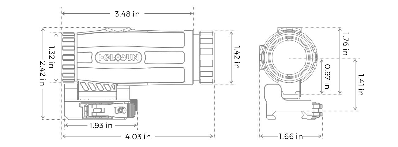 Holosun HM3X Dimensions